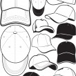 Ball Cap Collection — Stock Vector
