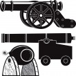 Stock Vector: Cannons