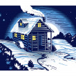 Stock Vector: Snowy Cabin