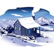 Stock Vector: Snowy Mountainside Cabin