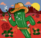 Cactus Gunslinger — Stock Vector