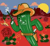 Cactus Gunslinger — Stock Vector