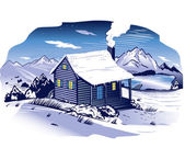 Snowy Mountainside Cabin — Stock Vector