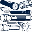 Stock Vector: Flashlight Collection