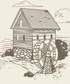 Old Rustic Mill — Stock vektor