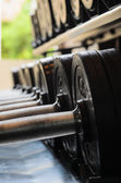 Barbel weights in gym — Stock Photo