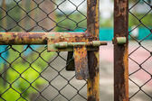 Doors rusted iron fence — Stock Photo