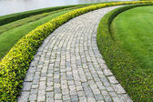 The Stone block walk path with green grass — Stock Photo