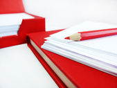 Red Pencil, Note Papers, Red Book and Red Box — Stock Photo