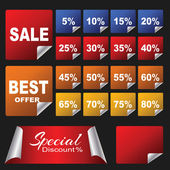 Discount Stickers pack — Stock Vector