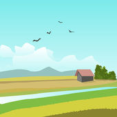 Landscape With House — Stock Vector