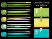 Herramientas conceptuales y botones aislados sobre un fondo negro — Foto de Stock