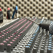 Studio Mixer and Microphone — Stockfoto