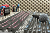 Studio Mixer and Microphone — Stok fotoğraf
