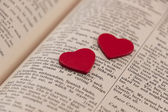 Hearts on a book page — Stock Photo