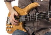 Playing Bass guitar — Stock Photo