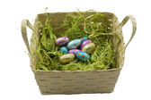 Easter egg chocolates in a basket — Stock Photo