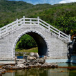San Ya, China:  Chinese Bridge at the Sanya Nanshan Temple Gardens — Stock Photo