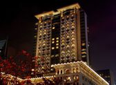 Hong Kong, China: Peninsula Hotel at Night — Stock Photo