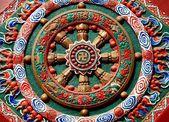 Chengdu, China: Zhao Jue Temple Bas Relief Falun Wheel — Stock Photo