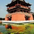 Stock Photo: Luo Dai, China: Five Phoenix Pavilion and Moat