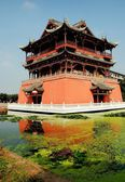 Luo Dai, China: Five Phoenix Pavilion and Moat in Luo Dai — Stock Photo
