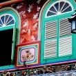 Stock Photo: Singapore: Blue Shuttered Shop House Windows