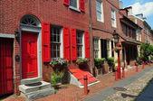 Philadelphia, PA: Elfreth's Alley Homes — Stock Photo