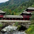 China: Traditional Bridge House over Stream on Sichuan Mountainside — Stock Photo #35165921