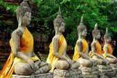 Ayutthaya, Thailand: Row of Buddhas at Wat Yai Chai Mongkon — Stock Photo