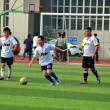 China: Soccer Team at Pengzhou Stadium — Lizenzfreies Foto