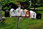 Nh フィッツウィリアム: usps 農村のメールボックスの行 — ストック写真