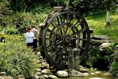 Chengdu, China: Little Boys and Wooden Water Wheel — Foto Stock