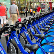NYC:  Row of Citibikes on West 49th Street — Stock Photo