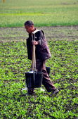 China: Farmer Carrying Water Buckets — Stock Photo