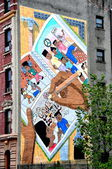 NYC: Anti-Drug Mural on Harlem Tenement Building — Stock Photo
