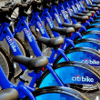 NYC:  Row of Citibike Rental Bikes on West 49th Street — Stock Photo