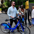 NYC: Man with Citibike — Stock Photo