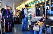 NYC: Passengers Riding the JFK Air Train — Stock Photo