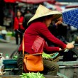 Pengzhou, China: Woman Farmer at Tian Fu Outdoor Market — Stock Photo
