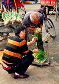 Pengzhou, China: Farmers Weighing Green Onions — Stock Photo