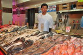 NYC: Fish Vendor at New World Plaza in Flushing — Stock Photo