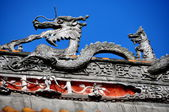China: Rooftop Dragon at Shi Fo Temple in Pengzhou — Stock Photo