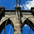 NYC:  West Tower of the Brooklyn Bridge — Stock Photo