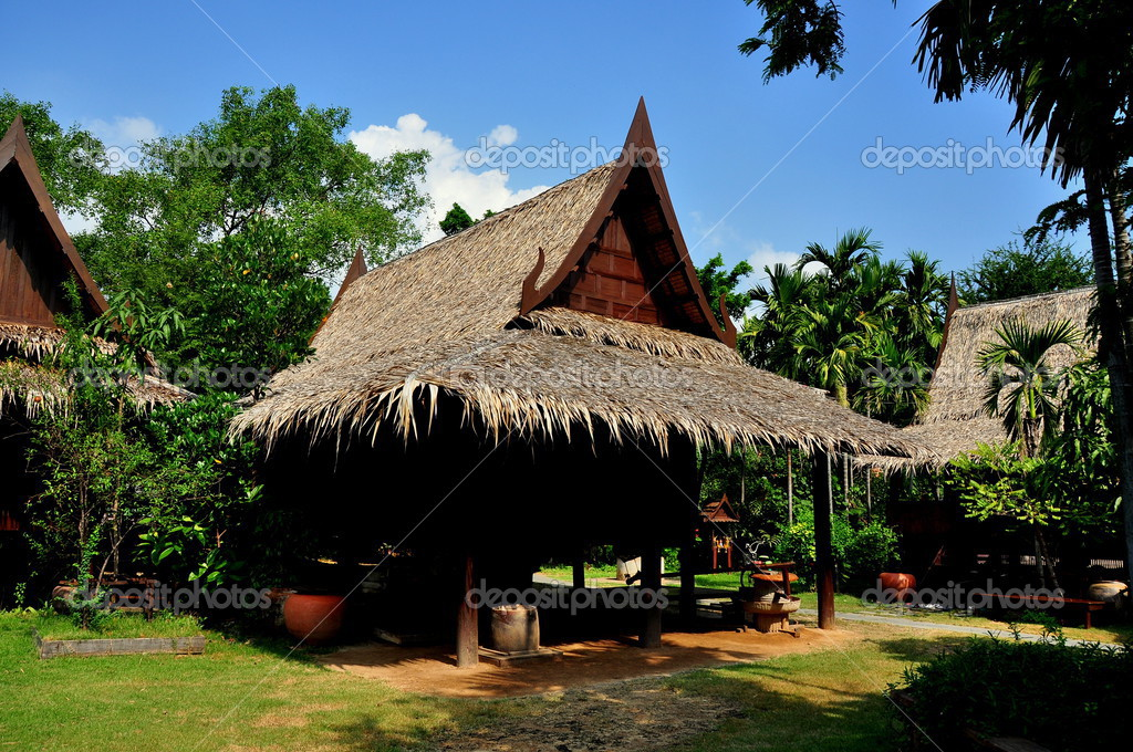 Samut Prakan Thailand  city photo : depositphotos 35637115 Samut Prakan Thailand Thai Houses with Thatched ...