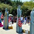 Stock Photo: NYC: Statue of Liberty Mimes in Battery Park