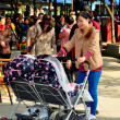 Pengzhou, China: Mother with Double Baby Stroller — Stock Photo