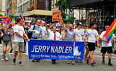 NYC: Congressman Jerrold Nadler Marching in Gay Pride Parade — Stock Photo