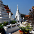Saraburi, Thailand:  White Chedis and Gardens at Wat Phra Phutthabat — Stock Photo