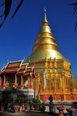 Lamphun, Thailand: Gilded Chedi at Wat Phra That Haripunchai Maha Vihan — Stock Photo